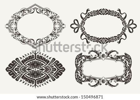 Set Of Four Ornate Frames - stock vector