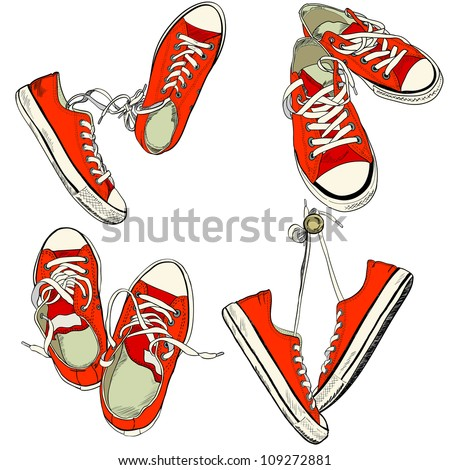 Set of four pairs of red sneakers in different positions drawn in a sketch style. Vector illustration. - stock vector