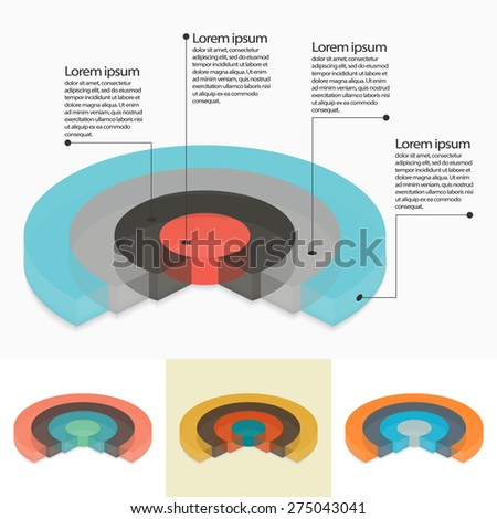 Set of four pie charts in isometric perspective - stock vector