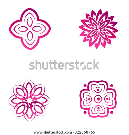 Set of four pink flower abstract logo designs. Vector template icon. Can be used for medicine, beauty  or sport business company - stock vector