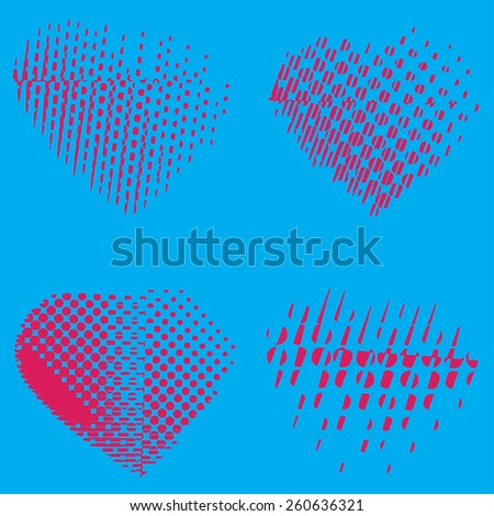 Set of four pink hearts, blue background, stock vector illustration   - stock vector