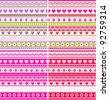 Set of four Pink, Purple and Green Valentine's Day striped fabrics with hearts and flowers - seamless background - stock vector
