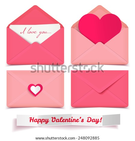 Set of four pink Valentine romantic vector envelopes isolated on white - stock vector