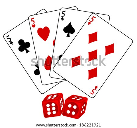 Set of four playing cards five, the suits of heart, spade, club and diamond with 3d red dices. vector art image illustration, isolated on white background eps10 - stock vector