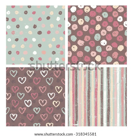 Set of four pretty rustic  seamless patterns . All objects are conveniently grouped and are easily editable. - stock vector