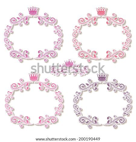 set of four purple frames with crowns for your photo or sample text. isolated with shadows and border stroke on blank background for little princess, glamour girl and woman. vector illustration.  - stock vector