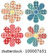 Set of four quilt flower. Patchwork series. Vector illustration. - stock vector