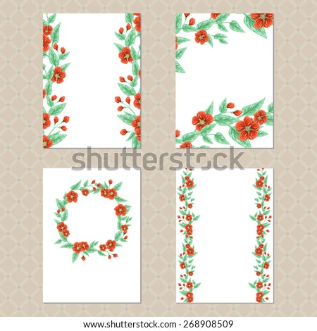 Set of four rectangle cards with floral ornament - stock vector