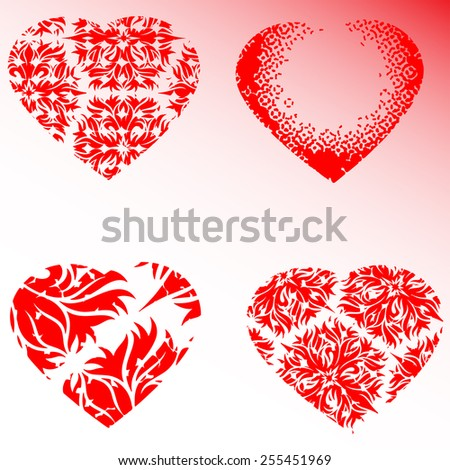 Set of four red hearts, vector illustration   - stock vector