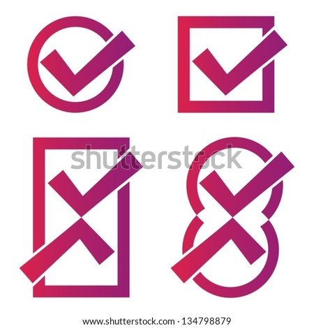 Set of four red-violet tick icons on white background - stock vector