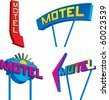 Set of four retro looking motel signs at different angles. - stock photo