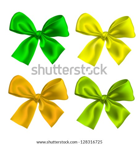 Set of four ribbon Bow ties isolated - stock vector