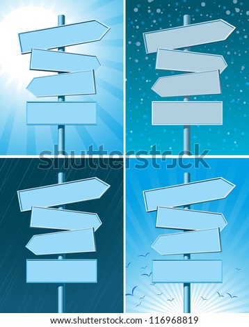 set of four road signs with different seasons on background - stock vector
