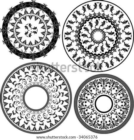 Set of four round black and white patterns illustration - stock vector