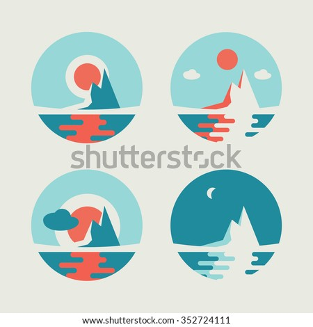 Set of four round vector abstract icons with sun over the island - stock vector