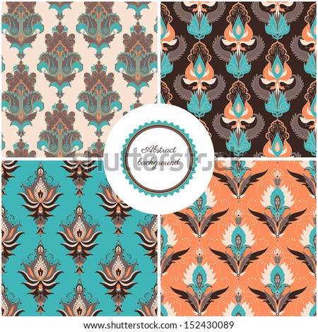 Set of four seamless backgrounds. Floral damask pattern. Easily edit the colors. - stock vector