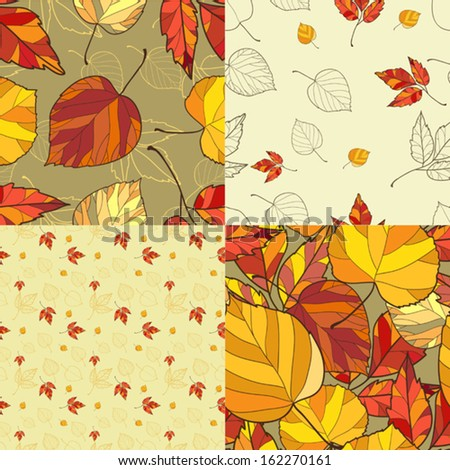 Set of Four Seamless backgrounds  with yellow, orange and red autumn leaves. Fall pattern wallpaper. Good for web, print, wrapping paper.