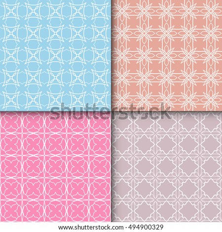 Set of four seamless geometric line patterns. Contemporary graphic design. Endless texture for wallpaper, pattern fills, web page linear backgrounds. Colorful tribal ethnic ornaments, eastern style