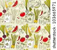 Set of four seamless hand-drawn pattern, eco food background. - stock vector