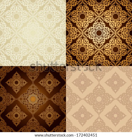 Set of four seamless pattern backgrounds.Vintage background traditional ottoman motifs.Decorative colorful seamless pattern in mosaic ethnic style.Vector illustration - stock vector