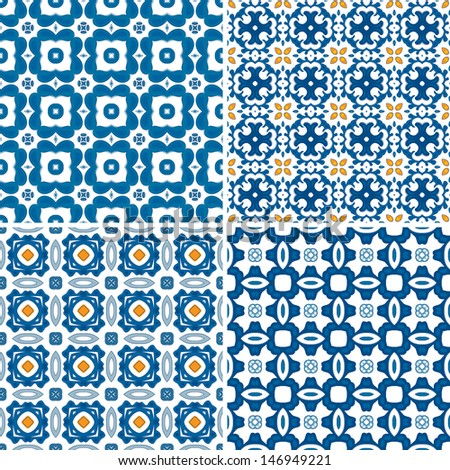 Set of four seamless pattern illustrations in blue and orange - like Portuguese tiles - stock vector