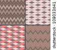 Set of four seamless patterns, chevron and diamond patterns - stock vector