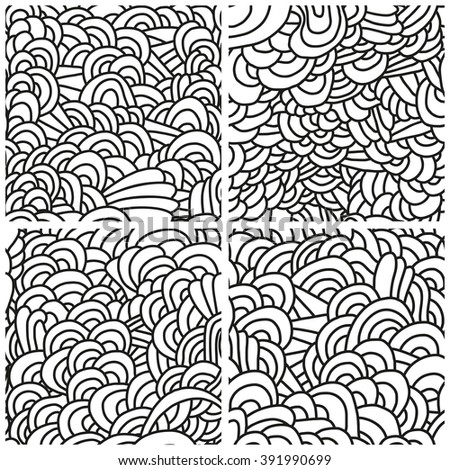 Set of four seamless patterns. Monochrome backgrounds with linear doodles, scales, diagonal waves, hand drawn graphics made with graphics tablet. Vector Illustration.