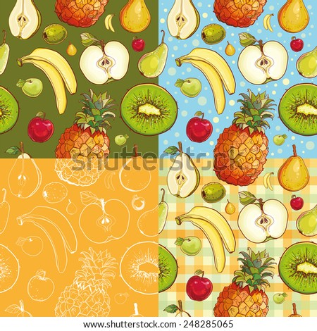 Set of four seamless patterns with kiwi, pineapple, banana, apple, pear. - stock vector