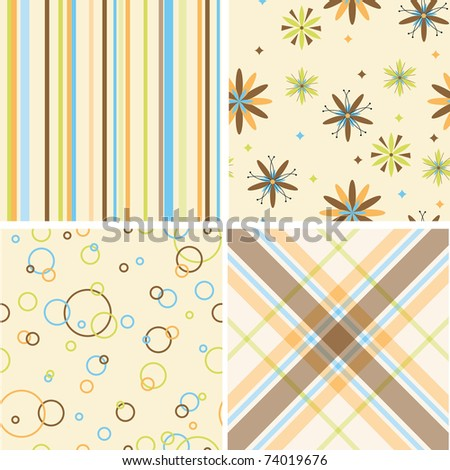 Set of four seamless retro pattern - stock vector