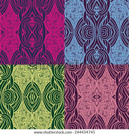 Set of four seamless waves patterns. Abstract illustration.   - stock vector