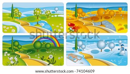 Set of Four Seasons Banners. Vector Illustration (EPS v.10) - stock vector