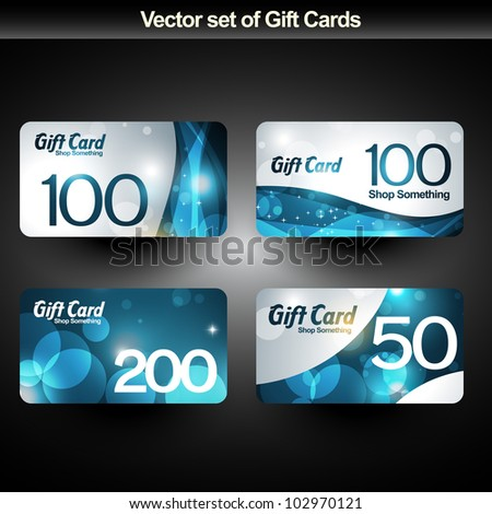 set of four shiny gift cards - stock vector