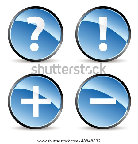 set of four signs icons in blue tones - stock vector