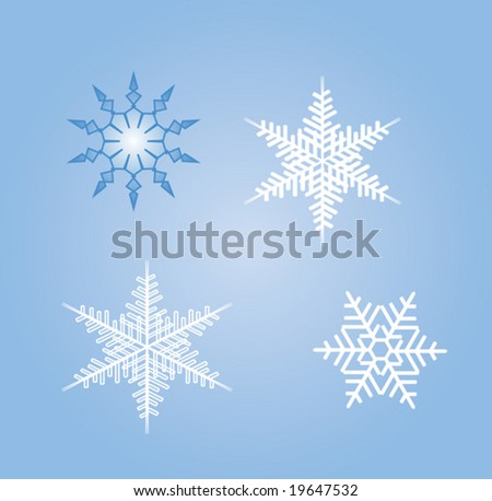 Set of four snowflakes on blue background