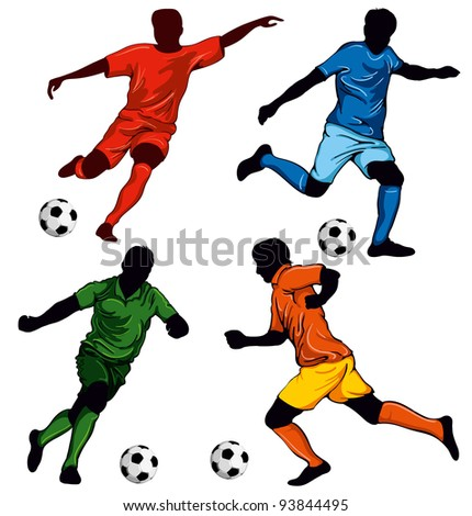 Set of four soccer players in different poses. Beautiful items for your design. - stock vector