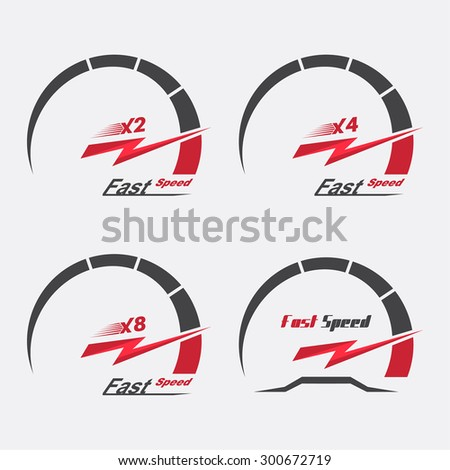 Set of four speedometer scale. Concept of speed and acceleration. Vector element of graphic design - stock vector
