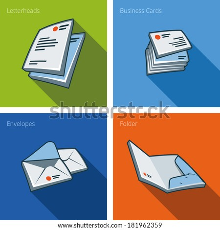 Set of four stationary icons consisting of letterhead, business card, envelope and folder in cartoon style. Print publishing icon series.  - stock vector