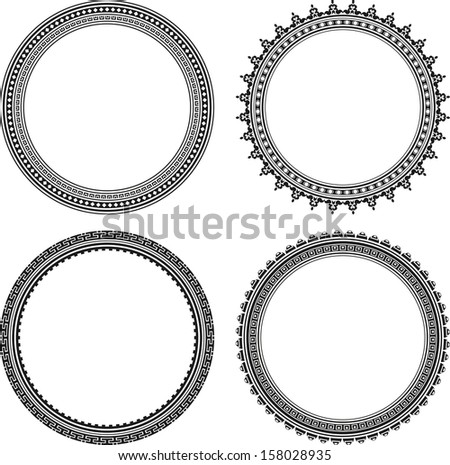 Set of four stylish round frames - stock vector