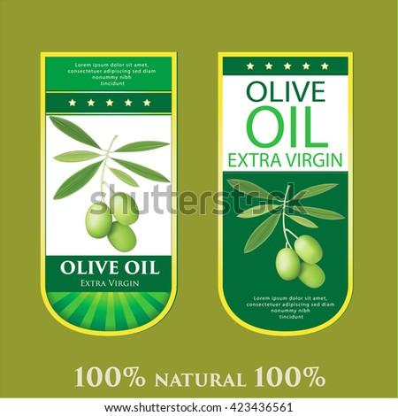 Set of four symbols for olive labels. - stock vector