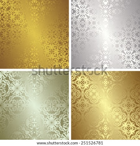 Set of four template of patterns in gold and silver colors. Vintage design      - stock vector