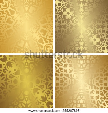 Set of four template of seamless golden patterns. Vintage and luxury design      - stock vector