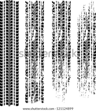 Set of four tire tracks with grunge - stock vector