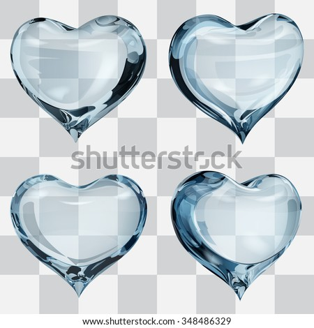 Set of four transparent hearts in light blue colors - stock vector