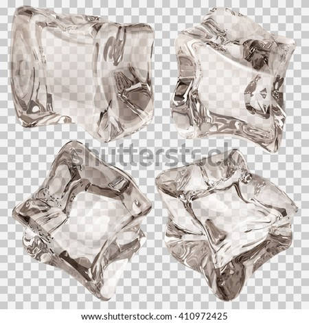 Set of four transparent ice cubes in amber colors. Transparency only in vector file - stock vector