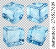 Set of four transparent ice cubes in blue colors - stock photo