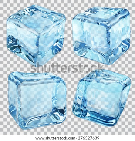 Set of four transparent ice cubes in blue colors - stock vector