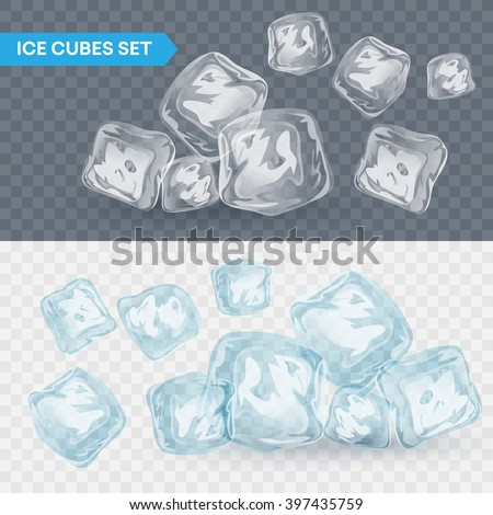 Set of four transparent ice cubes. Vector illustration EPS10 - stock vector
