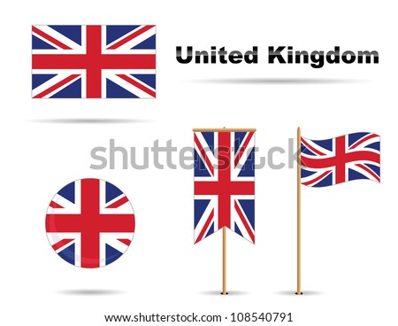 set of four united kingdom flags - stock vector