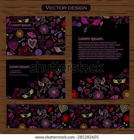 Set of four valentines day business cards on a background. Vector EPS - stock vector