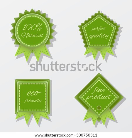 Set of four vector bright green badges for eco-friendly design - stock vector